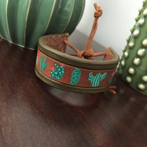 Jewelry - Hand painted cactus leather wrap bracelet